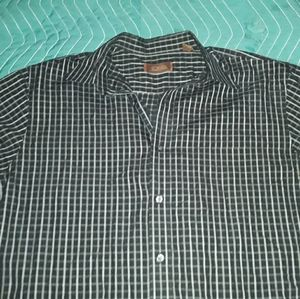 TASSO ELBA SHORT SLEEVE BLACK CHECKERED XL SHIRT